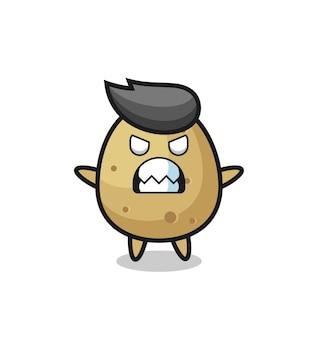 Toornige uitdrukking van het karakter van de aardappelmascotte, schattig stijlontwerp voor t-shirt, sticker, logo-element