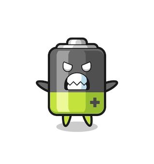 Toornige uitdrukking van het karakter van de batterijmascotte, schattig stijlontwerp voor t-shirt, sticker, logo-element