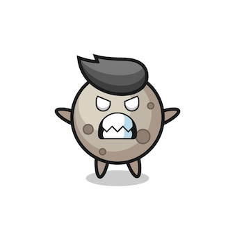 Toornige uitdrukking van het karakter van de maanmascotte, schattig stijlontwerp voor t-shirt, sticker, logo-element