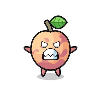 Toornige uitdrukking van het karakter van de pluotfruit-mascotte, schattig stijlontwerp voor t-shirt, sticker, logo-element