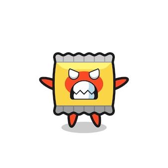 Toornige uitdrukking van het karakter van de snackmascotte, schattig stijlontwerp voor t-shirt, sticker, logo-element