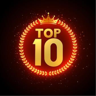 Top 10 award in goud met kroon