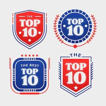 Top 10 badgescollectie Gratis Vector