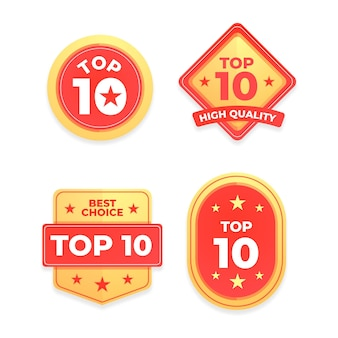 Top 10 badgescollectie Premium Vector