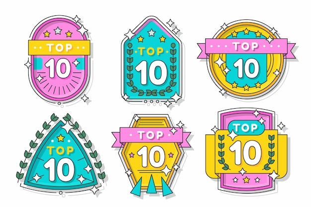 Top 10 labels met linten Gratis Vector