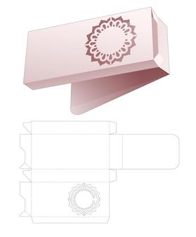 Top flip tinnen verpakking met verborgen gestencilde mandala gestanste sjabloon