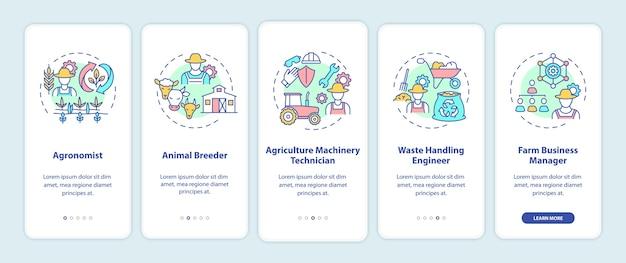 Top landbouwcarrières onboarding mobiele app-pagina met concepten.