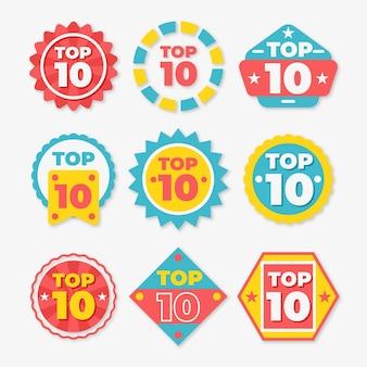 Top tien badges-pakket