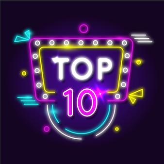 Top tien concept in neonlichten