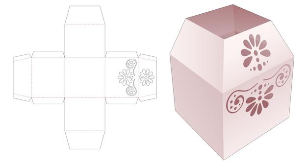 Top trapeziumvormige briefpapierdoos met gestencilde mandala gestanste sjabloon