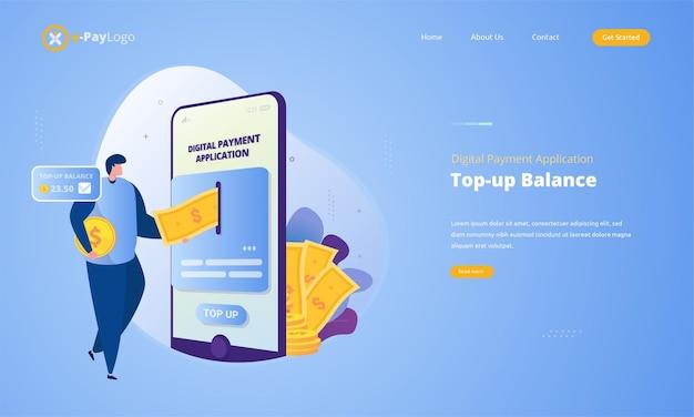 Top-up saldo illustratie voor digitale betalingsapplicatie concept