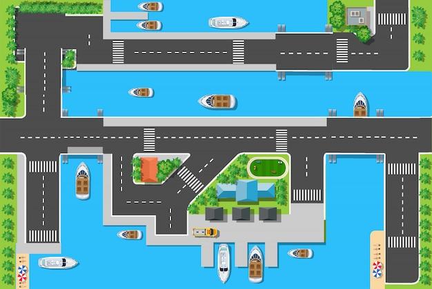 Top viewport jachthavens met bruggen, wegen