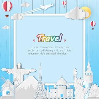 Top wereld beroemde bezienswaardigheid reizen over de hele wereld.