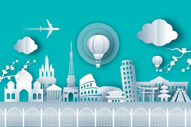 Top wereldberoemde bezienswaardigheden voor reizen in papieren stijl