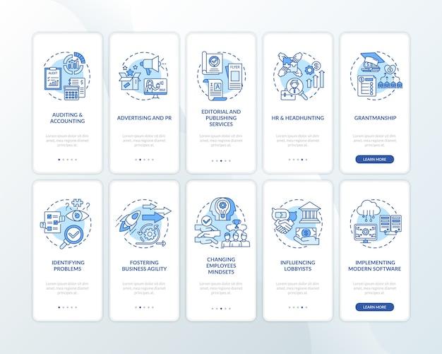 Top zakelijke counseling-service onboarding mobiele app-paginascherm met ingestelde concepten.