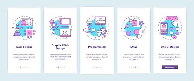 Topcarrières in it voor creatieve denkers die het scherm van de mobiele app-pagina met concepten introduceren