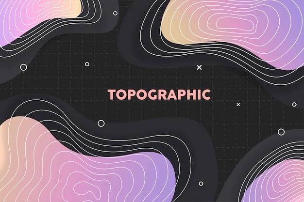 Topografische achtergrond met kleurovergang met memphis patroon