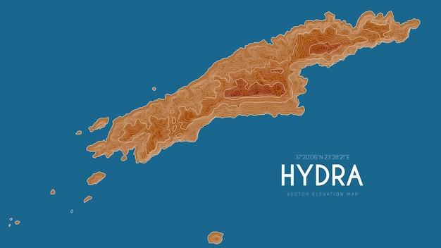 Topografische kaart van hydra, griekenland.