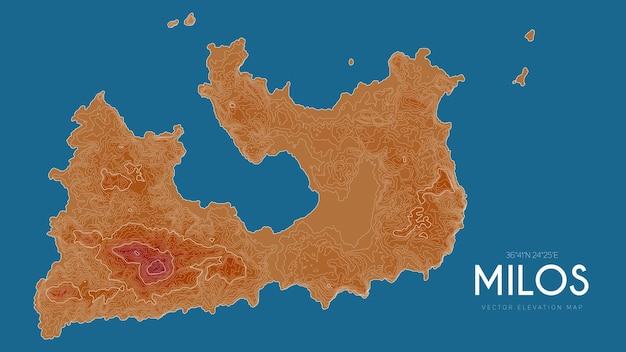 Topografische kaart van milos, griekenland.