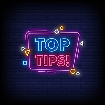 Toptips neon signs style text