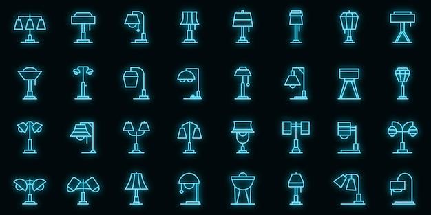 Torchere pictogrammen instellen vector neon