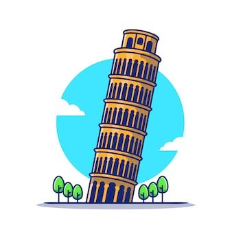Toren van pisa cartoon pictogram illustratie. beroemde gebouw reizende pictogram concept geïsoleerd. platte cartoon stijl