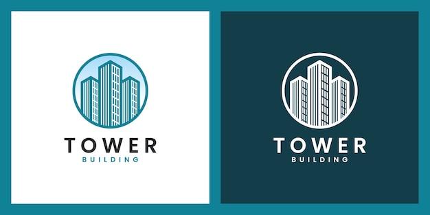 Torengebouw met prachtige lijntekeningen logo-ontwerpinspiratie