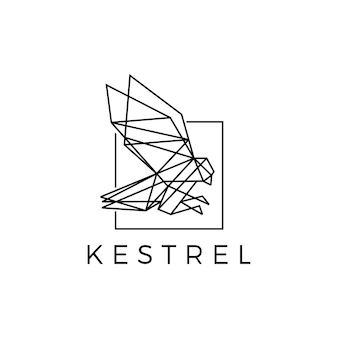 Torenvalk vierkante vogel geometrische veelhoekige zwarte logo vector pictogram illustratie