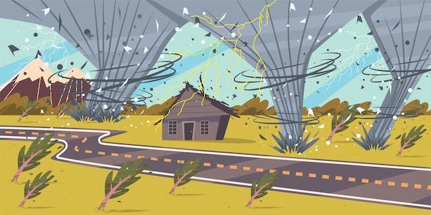 Tornado, onweer, orkaan vector cartoon illustratie van een natuurramp en een ramp.
