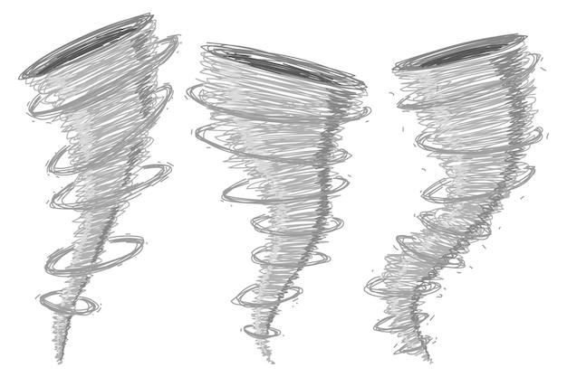 Tornado, tyfoon tekenfilm set geïsoleerd op een witte achtergrond.