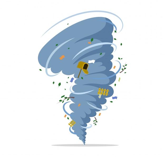 Tornado vlakke afbeelding draaien. natuurramp, orkaan of storm, rampspoed en catastrofe.