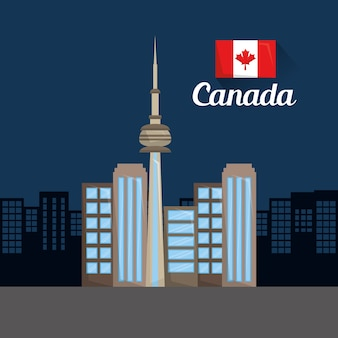 Toronto skyline van de stad wolkenkrabbers vlag canadese