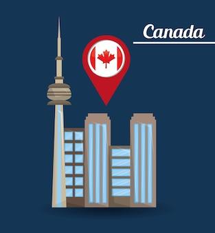 Toronto stad gebouwen architectute aanwijzer kaart vlag