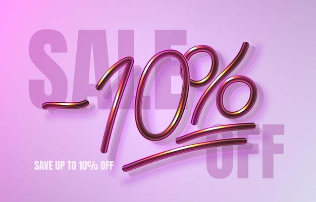 Tot 10 korting op verkoopbanner, promotieflyer, marketinglabel. vector illustratie
