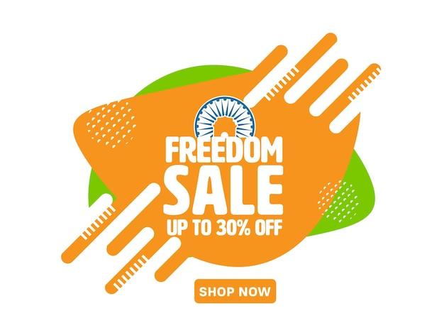 Tot 30% korting voor freedom sale poster of bannerontwerp.