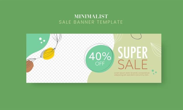Tot 40% korting voor super sale banner of header design met kopie ruimte.