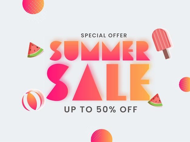 Tot 50 procent korting voor posterontwerp voor de zomerverkoop