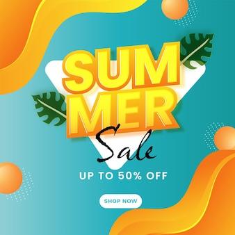 Tot 50 procent korting voor zomerverkoop posterontwerp in turquoise en oranje kleur.