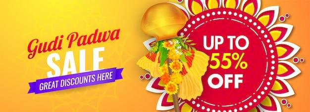 Tot 55% korting voor gudi padwa sale header of bannerontwerp met traditionele gudhi.