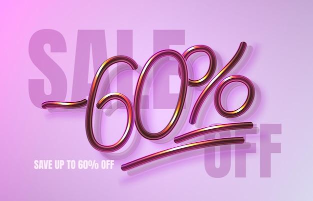 Tot 60 korting op verkoopbanner, promotieflyer, marketinglabel. vector illustratie