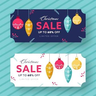 Tot 60% korting voor versierde koptekst of bannerontwerp voor kerstuitverkoop