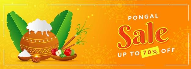 Tot 70% korting voor pongal-verkoopkop- of bannerontwerp met traditionele schotelpot Premium Vector