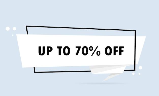 Tot 70 pers. origami stijl tekstballon banner. sticker ontwerpsjabloon.