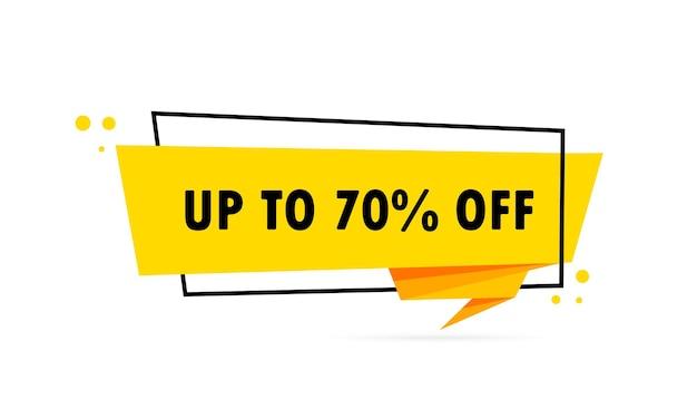 Tot 70 procent korting. origami stijl tekstballon banner. stickerontwerpsjabloon met tot 70 procent korting op tekst. vectoreps 10. geïsoleerd op witte achtergrond.