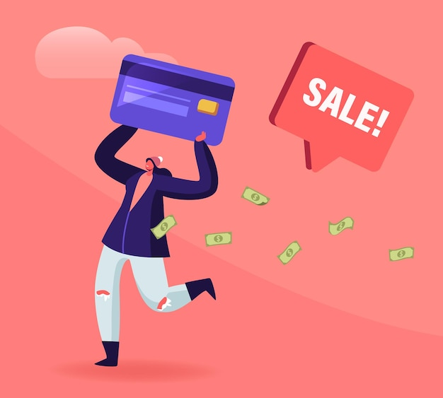 Totale verkoop en feestelijk kortingsconcept. cartoon vlakke afbeelding