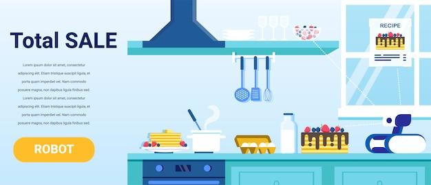 Totale verkoop op reclamebanner voor huishoudelijke robots