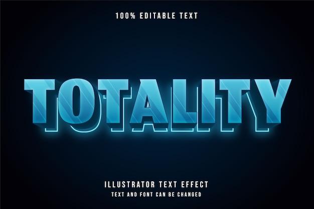 Totaliteit, 3d bewerkbaar teksteffect moderne blauwe neontekststijl