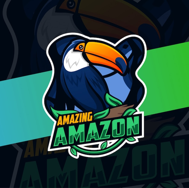 Toucan amazon vogel mascotte logo ontwerp