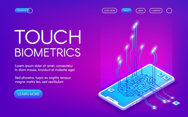 Touch biometrics-technologieillustratie van digitale vingerafdrukerkenning