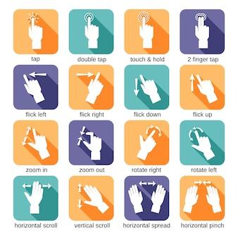 Touch interface gebaren pictogrammen